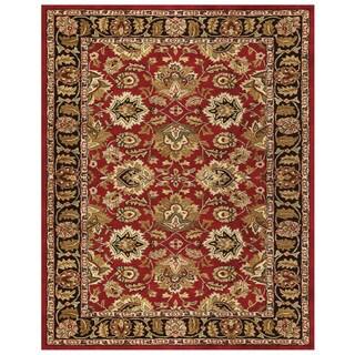 Grand Bazaar Tufted Wool Pile Adair Rug in Red/ Black (5' x 8')