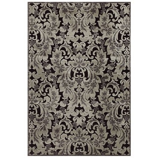 "Grand Bazaar Power Loomed Viscose Soho Rug in Black / Silver 5'-3"" X 7'-6"" - 5'-3"" x 7'-6"""