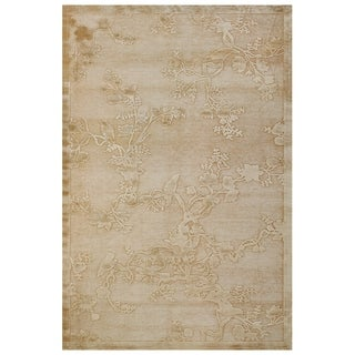 Grand Bazaar Viscose Sofra Area Rug in Ivory (5'3 x 7'6)