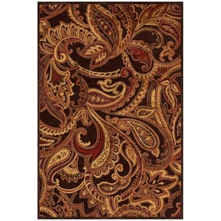 "Grand Bazaar Power Loomed Viscose Granada Rug in Dark Chocolate / Rust 5'-3"" X 7'-6"" - 5'-3"" x 7'-6"""