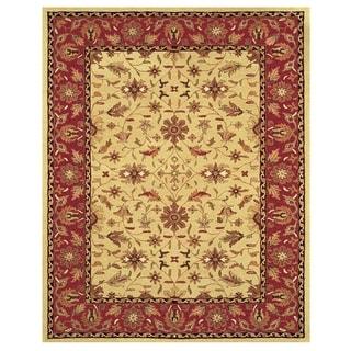 Grand Bazaar Tufted Wool Pile Makenzie Rug in Light Gold/ Burgundy (5' x 8')