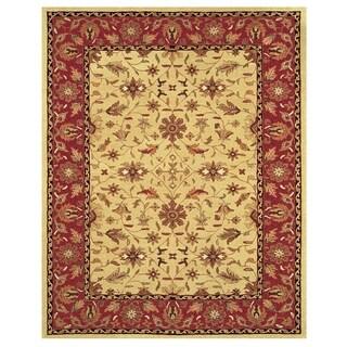 Grand Bazaar Tufted Wool Pile Makenzie Rug in Light Gold/ Burgundy (5' x 8') - 5' x 8'