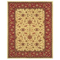 Grand Bazaar Tufted Wool Pile Makenzie Rug in Light Gold/ Burgundy (5' x 8') - 5' x 8'