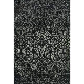 Grand Bazaar Tufted Wool Pile Beloha Rug in Black/ White (5' x 8')