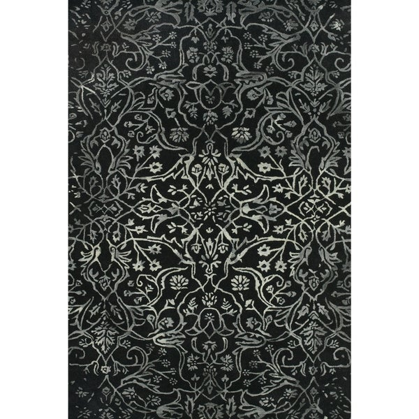 Grand Bazaar Tufted Wool Pile Beloha Rug in Black/ White (5' x 8') - 5' x 8'