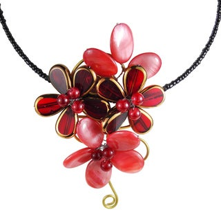 Floral Passion Elegant Red Mother Of Pearl Choker (Thailand)