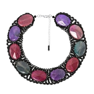 Multicolor Oval Agate Fashion Statement Necklace (Thailand)