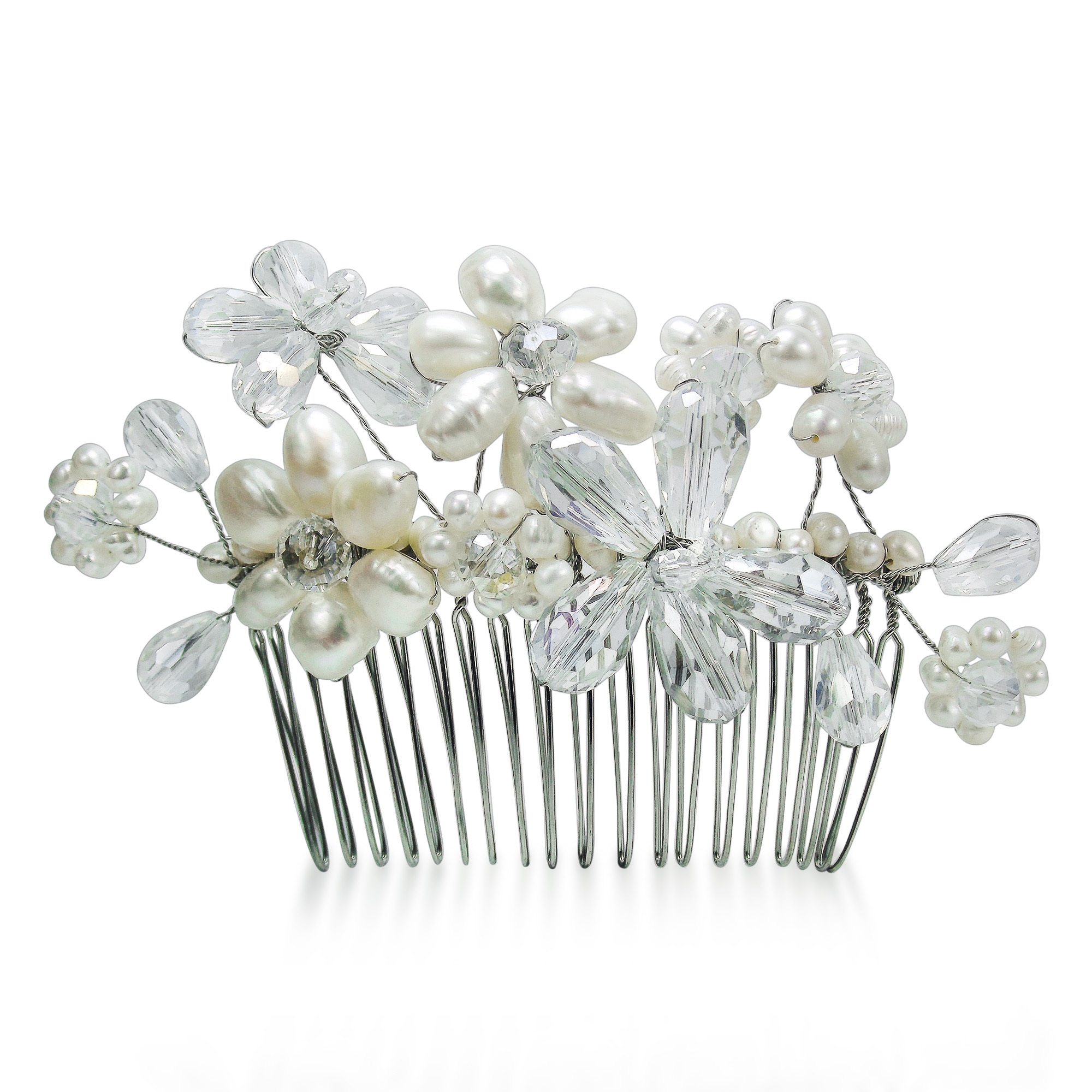 Shop Handmade Floral Serenity White Pearls And Crystals Bridal Hair Comb Thailand Overstock 9108848