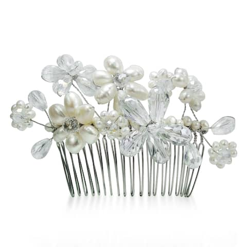 Handmade Floral Serenity White Pearls and Crystals Bridal Hair Comb (Thailand)