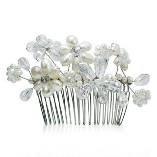 Floral Serenity White Pearls and Crystals Bridal Hair Comb (Thailand)