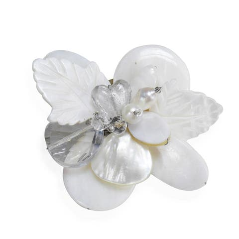 Handmade Nature's Charm Carved Mother of Pearl Pin or Brooch (Thailand)