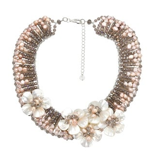 Handmade Floral Glam Mother of Pearl and Pearl Statement Necklace (Thailand)