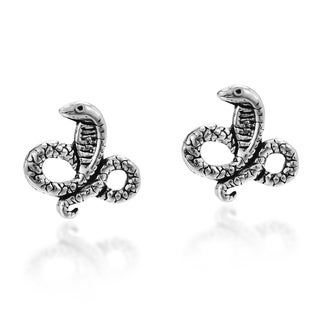 Handmade Feisty Mini King Cobra Snake Sterling Silver Stud Earrings (Thailand)