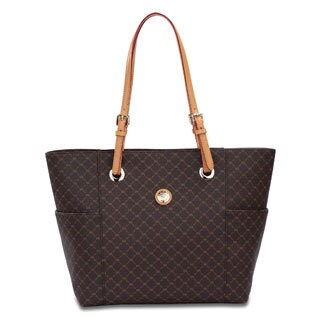 Rioni Signature Brown Saddle Tote