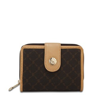 Rioni Signature Brown Small Zipper Button Wallet