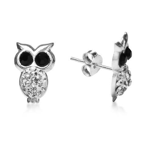 Handmade Sparkling Night Owl Cubic Zirconia .925 Silver Earrings (Thailand)