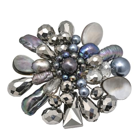 Handmade Midnight Marigold Pearl and Mix Stone Brooch or Pin (Thailand)