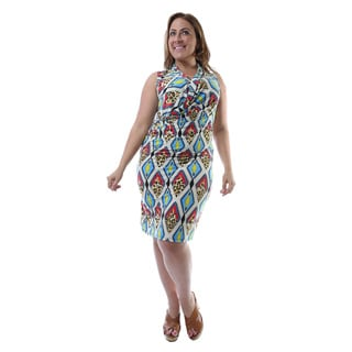 24/7 Comfort Apparel Women's Plus Size Geometric Print Sleeveless Knee-length Dress