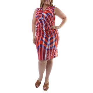 24/7 Comfort Apparel Women's Plus Size Geometric Print Knee-length Dress