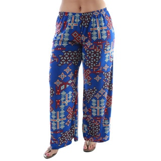 24/7 Comfort Apparel Women's Plus Size Blue Printed Palazzo Pants