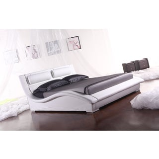 Napoli White Leatherette Platform Bed