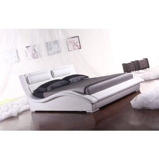 Napoli White Leatherette Platform Bed