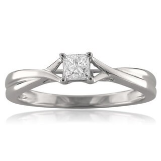 Montebello 14k White Gold 1/4ct TDW Princess-cut Diamond Ring