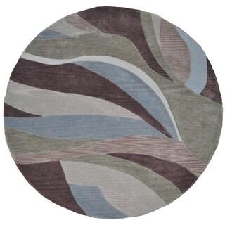 LNR Home Fashion Blue/ Brown Geometric (5' Round)