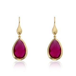 Riccova Arctic Mist 14k Goldplated Pink Faceted Teardrop Dangle Earrings