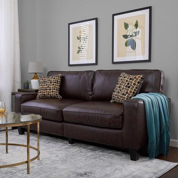 Shop Serta Monaco Collection 77-inch Brown Leather Sofa ...
