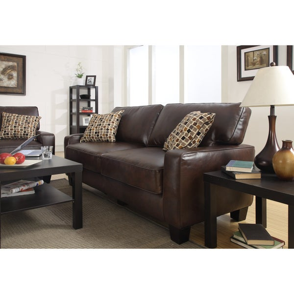 Serta Monaco Collection 77-inch Brown Leather Sofa - Free Shipping ...