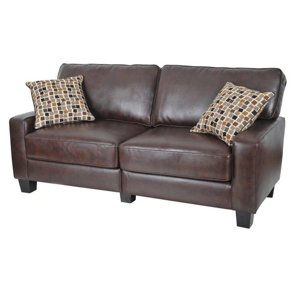 Serta Monaco Collection 77inch Brown Leather Sofa Free Shipping