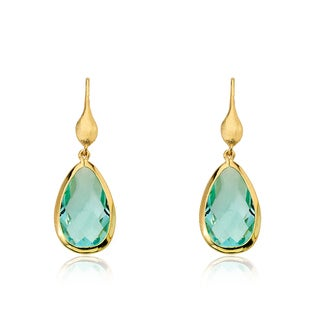 Riccova Arctic Mist 14k Goldplated Aqua Faceted Teardrop Dangle Earrings