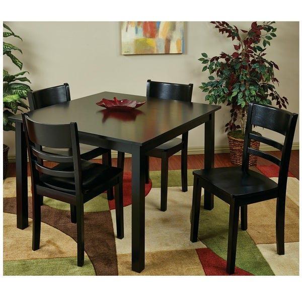 Dining set with contoured cross piece design chairs for Dining table overhang