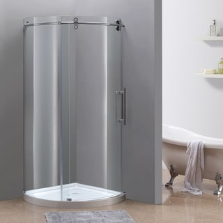 Aston Orbitus 40-in x 40-in Completely Frameless Round Shower Enclosure in Chrome, Right Opening w. Base