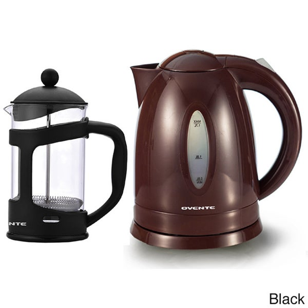 Ovente Cordless Electric Kettle with 34-ounce French Press Coffee Maker - Free Shipping On ...