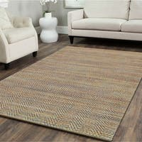 "LR Home Braided Natural Fiber Cheveron Blue Rug ( 5' x 7'9 ) - 5'2"" x 7'9"""
