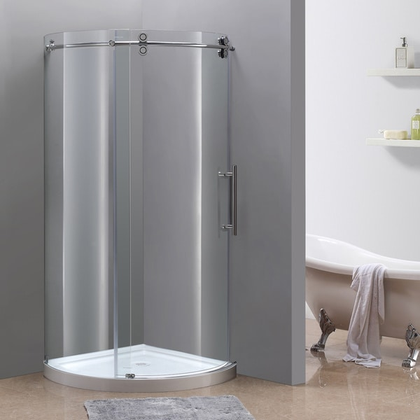 Aston Orbitus 36-in x 36-in Completely Frameless Round Shower Enclosure in Chrome, Right Opening w. Base