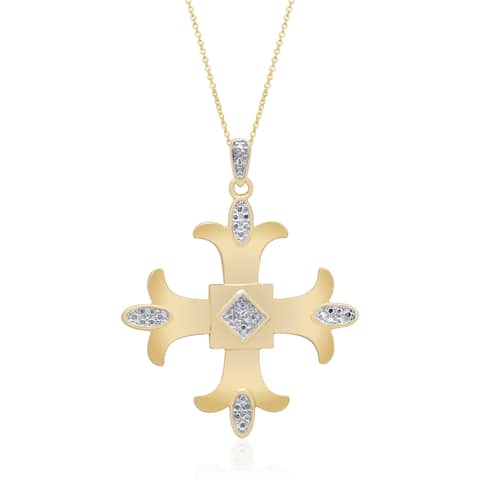 Finesque Sterling Silver, Yellow Gold or Rose Gold Diamond Accent Maltese Cross
