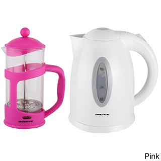 Ovente Cordless Electric Kettle with 34-ounce French Press Coffeemaker (Option: Pink)