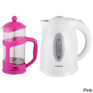 Ovente Cordless Electric Kettle with 34-ounce French Press Coffeemaker