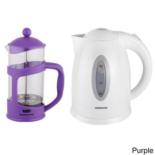 Ovente Cordless Electric Kettle with 34-ounce French Press Coffeemaker (Option: Purple)