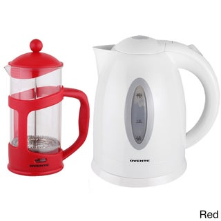 Ovente Cordless Electric Kettle with 34-ounce French Press Coffeemaker (Option: Red)
