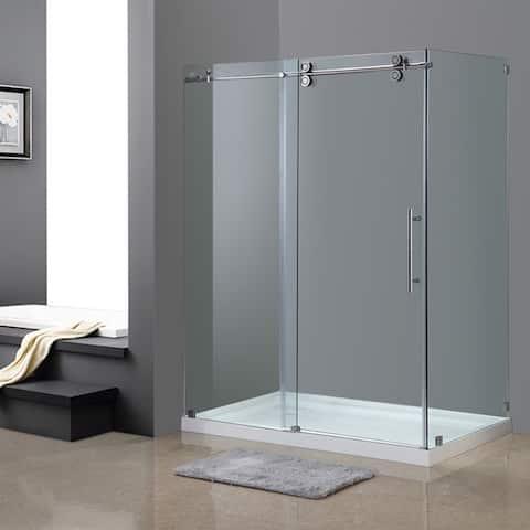 Aston Langham 60-in x 35-in x 77.5-in Completely Frameless Sliding Shower Enclosure in Chrome w. Base