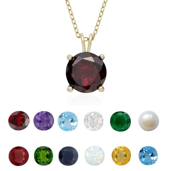 Dolce Giavonna Gold Over Silver Gemstone Birsthtone Necklace. Opens flyout.