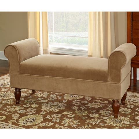 Copper Grove Rushbrook Classic Light Brown Microfiber Bench
