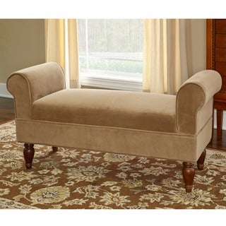 Linon Justine Classic Bench in Light Brown Microfiber