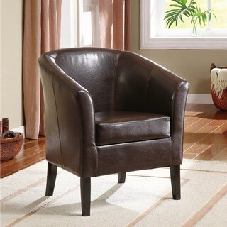 Linon Andrew Barrel Club Chair Coffee Brown Upholstery
