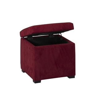 Linon Pauline Red Plush Storage Ottoman with Jewelry Tray