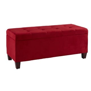 Linon Yolanda Red Tufted Flip-Top Ottoman with Shoe Storage